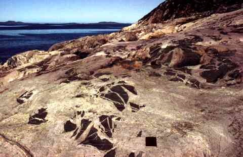 Geology of Greenland Survey Bulletin 177 cover photo showing rocks in front of fjord