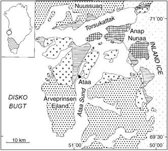 Geological sketch map of the Ataa area north-east of Disko Bugt.